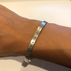 Jewelry - GRACE Silver Hand-Stamped Skinny Cuff Bracelet